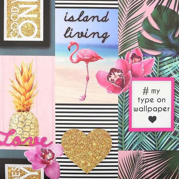 Trópusi hangulatú flamingó mintás dekor tapéta