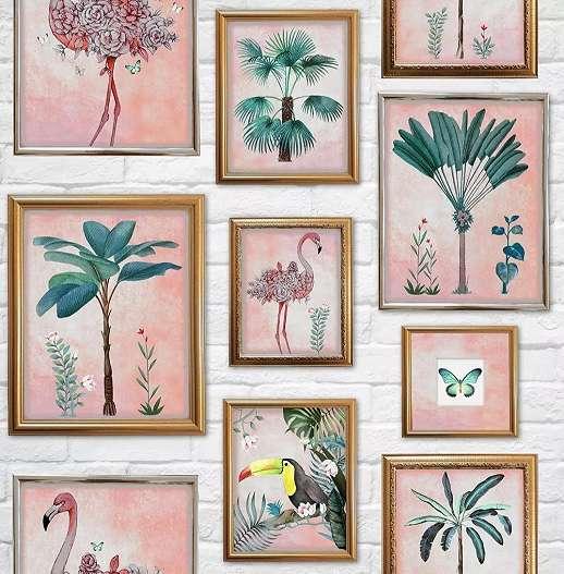 Trópusi hangulatú képkeret mintás tapéta rózsaszín színvilágban