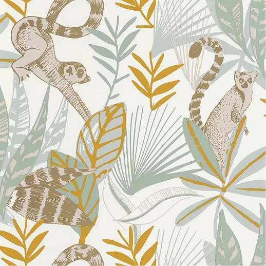 Trópusi hangulatú majom és pálmafa mintás vlies dekor tapéta