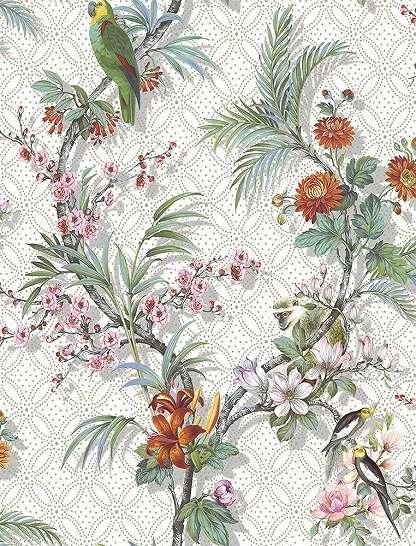 Trópusi hangulatú virág és madár mintás vlies dekor tapéta