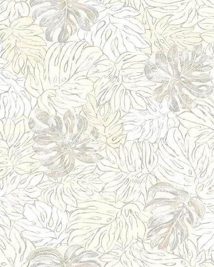 Trópusi levél mintás modern tapéta fehér barna színvilágban