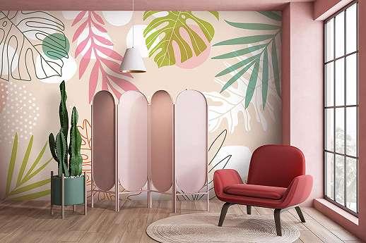 Trópusi levélmintás fali poszter pasztell rózsaszín színvilágban