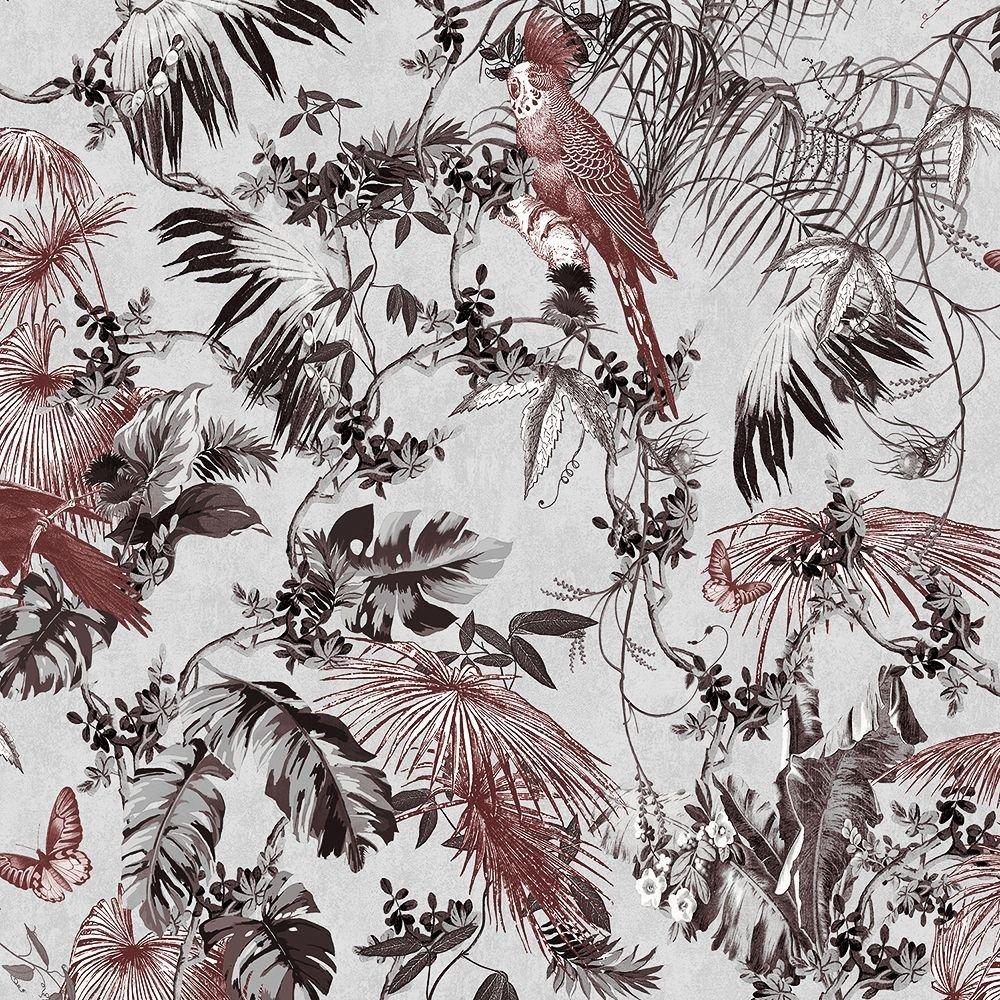 Trópusi madár mintás tapéta, ezüst, piros színekkel