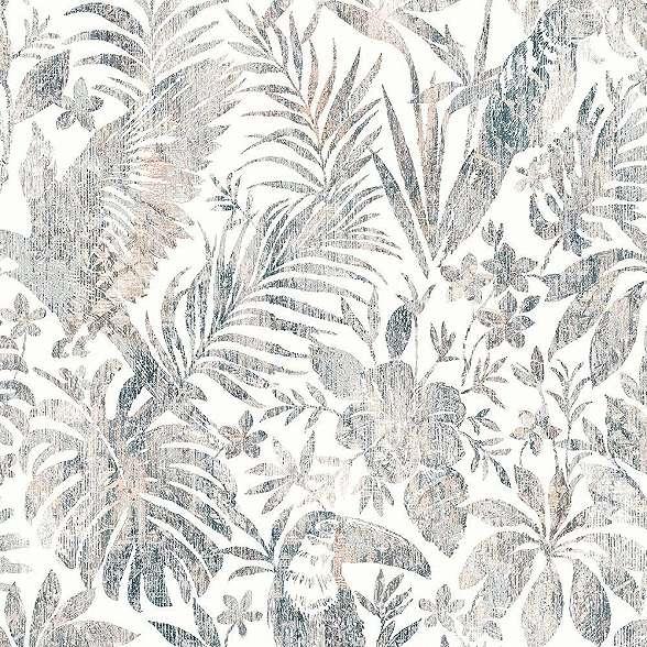 Trópusi madár pálmalevél mintás tapéta szürkés színvilágban