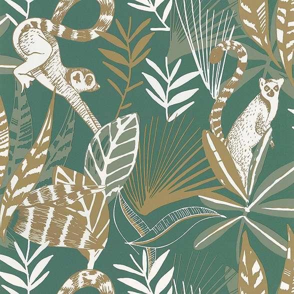 Trópusi majom és pálma mintás vlies dekor tapéta