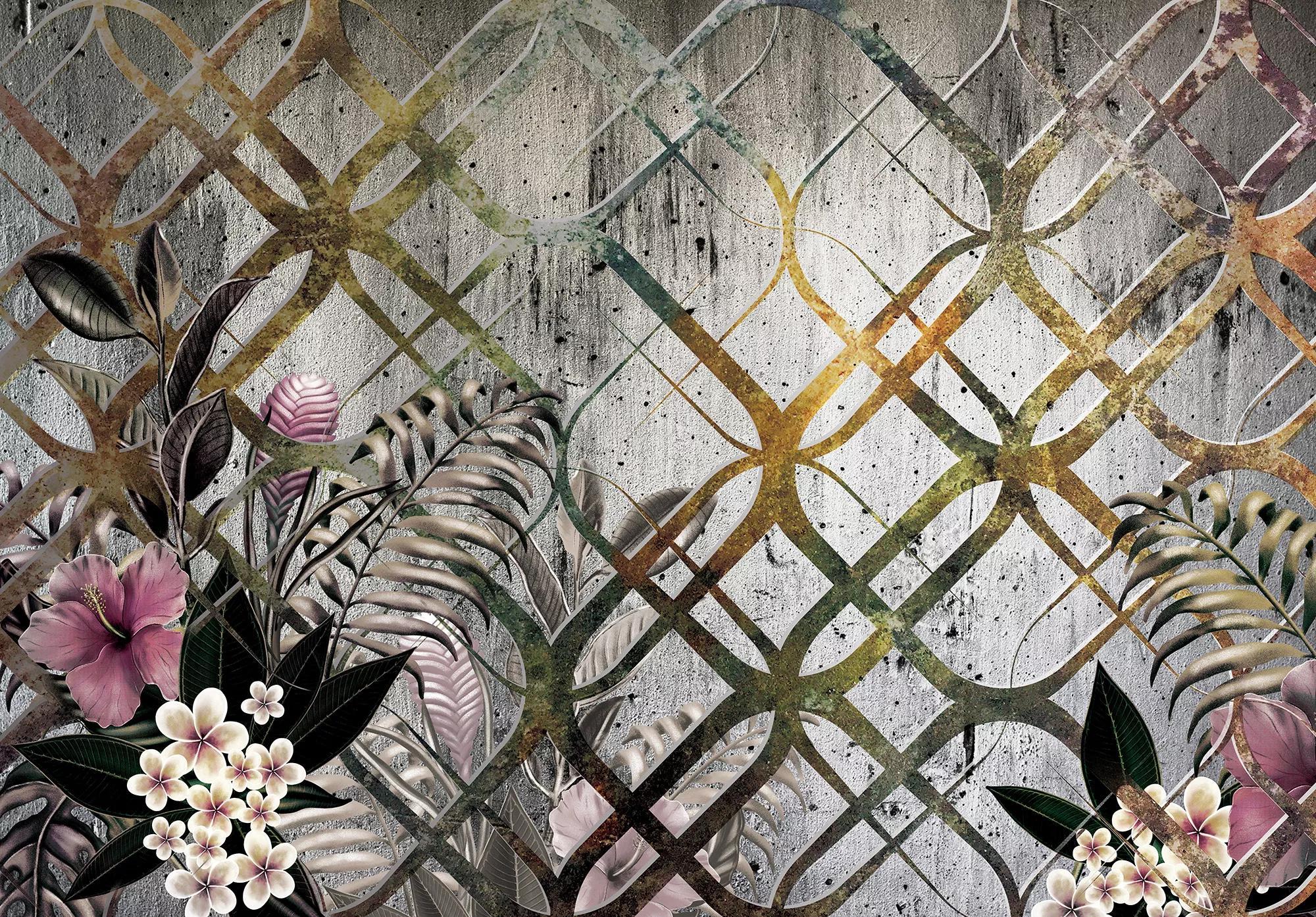Trópusi mintás fali poszter betonhatású alapon