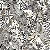 Trópusi mintás modern tapéta fekete fehér színvilágban