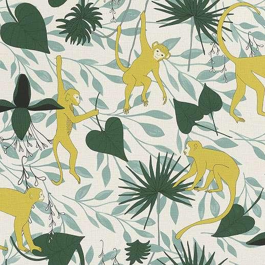 Trópusi mintás tapéta majom mintával skandináv hangulatban