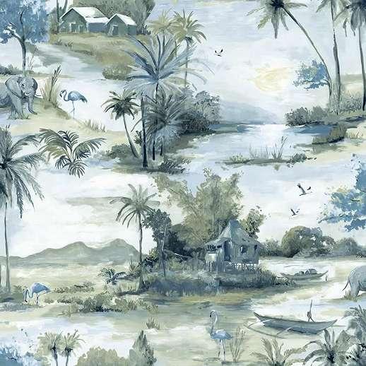 Trópusi tájkép mintás prémium vlies tapéta elefánt, pálma mintával