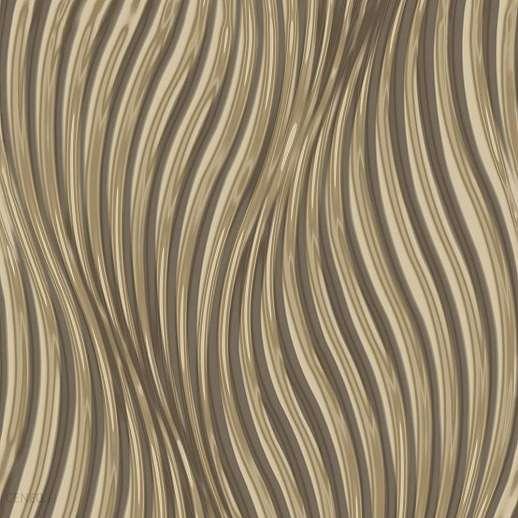 Tükrözödő metál fényes felületű arany színű vlies dekor tapéta hullám mintáva