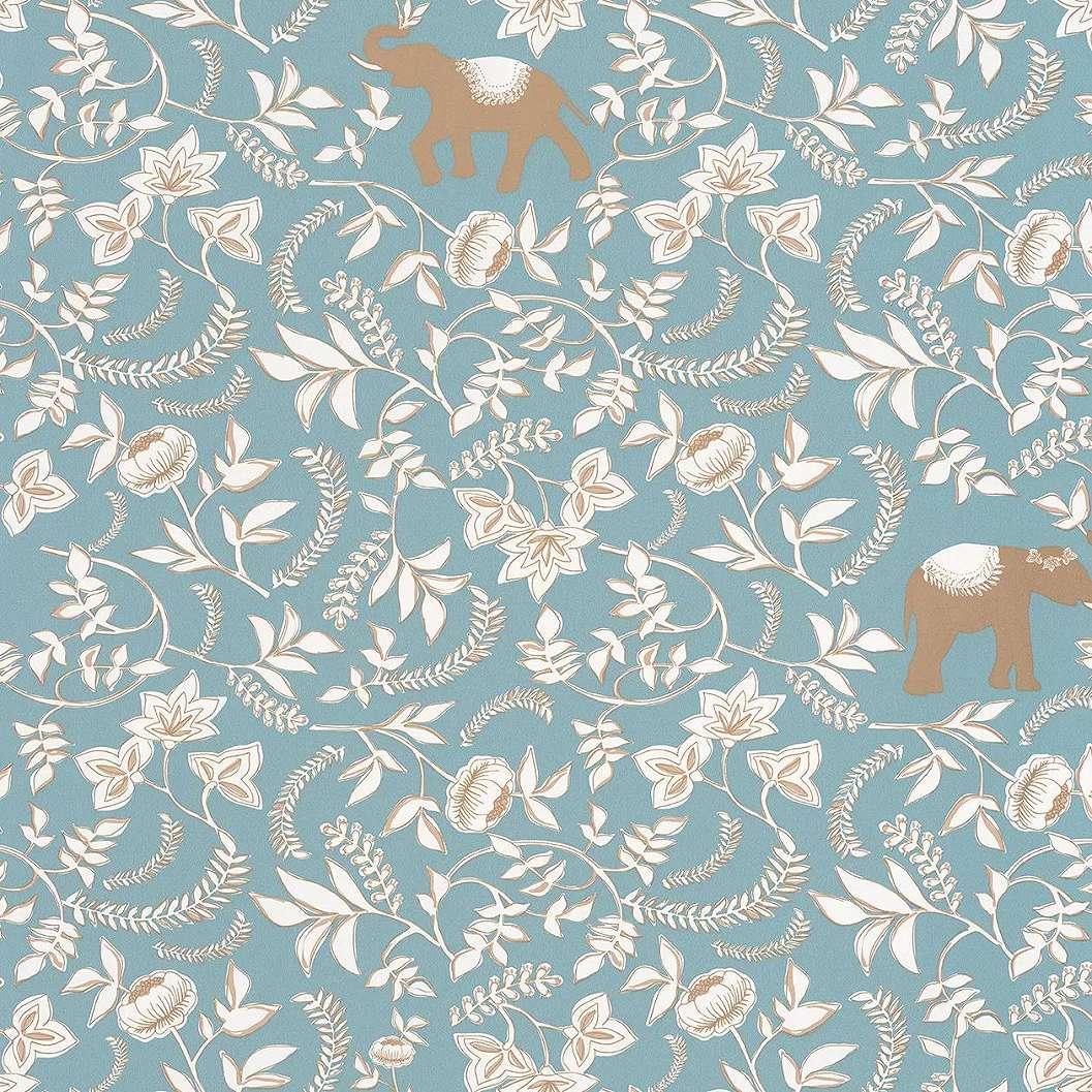 Türkiz alapon keleties hangulatú virág és elefánt mintás dekor tapéta