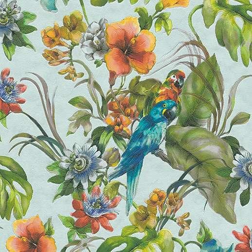 Türkiz alapon sokszínű trópusi mintás tapéta trendi papagály mintával