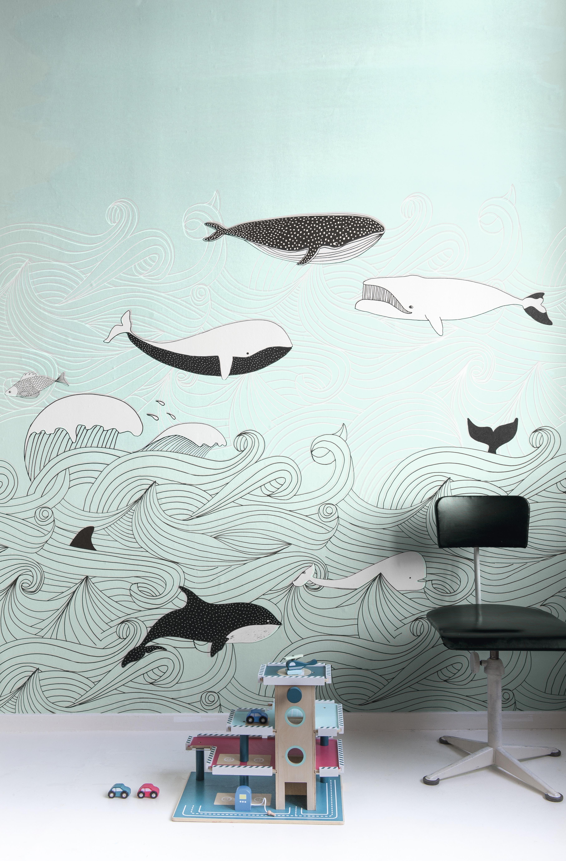 Türkíz bálna mintás fali poszter gyerekszobába