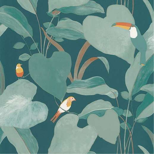 Türkiz egzotikus pálma és madár mintás vlies design tapéta