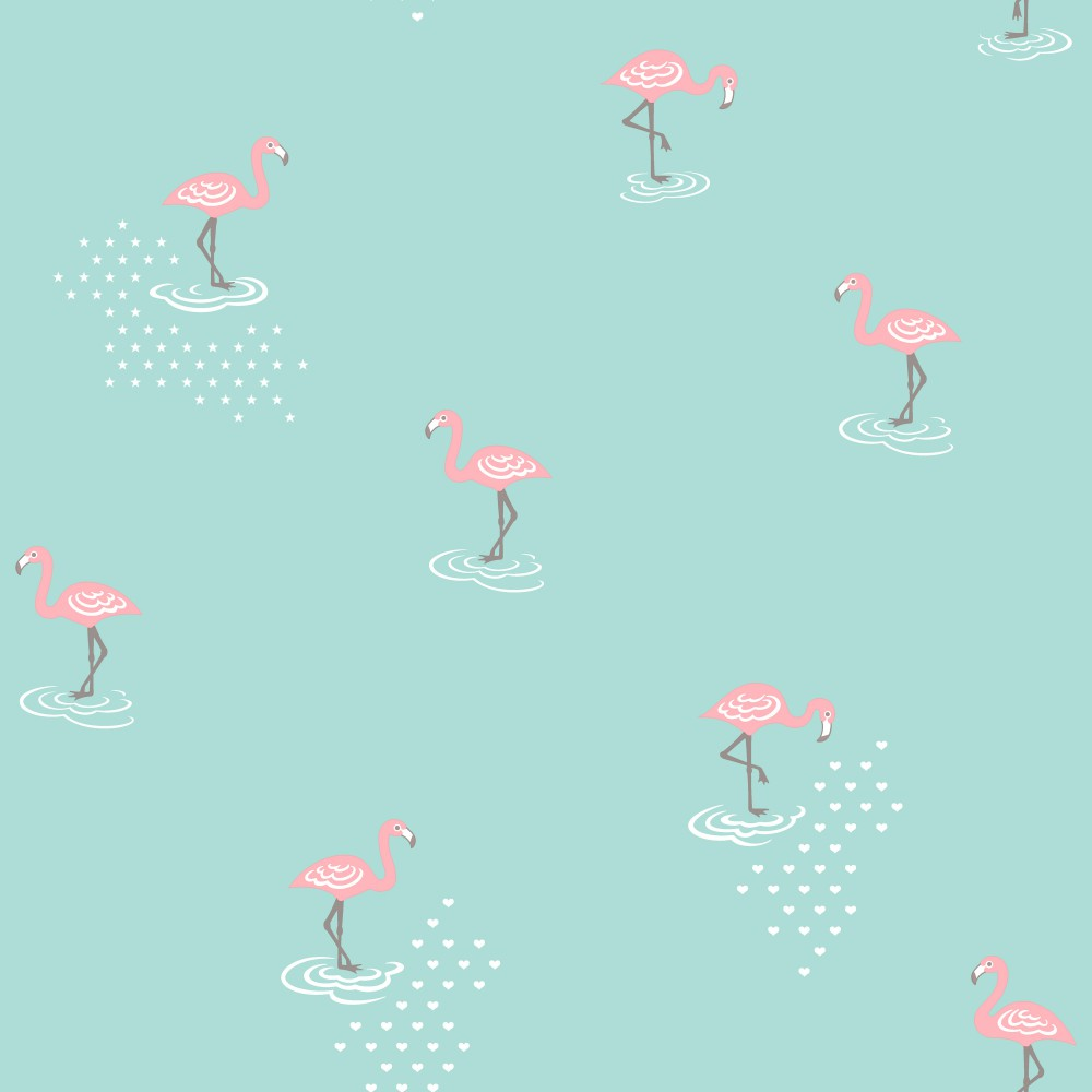 Türkiz flamingó mintás gyerek tapéta