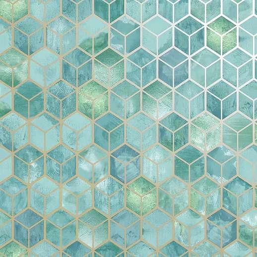 Türkiz geometrikus mintás tapéta fémes metál effekt hatással