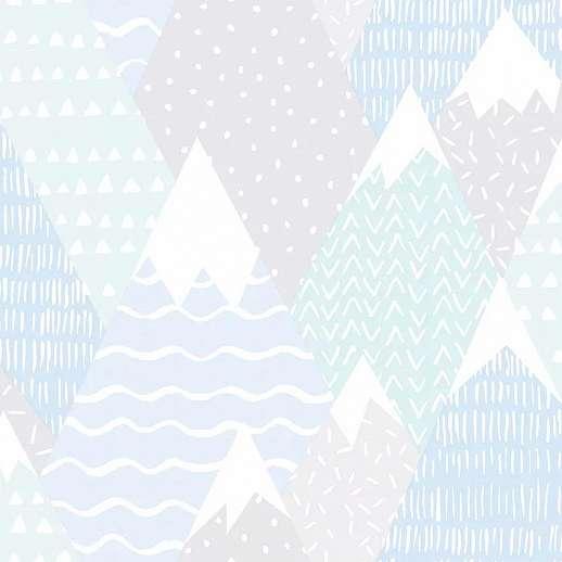 Türkiz skandináv stílusú gyerektapéta hegycsúcs mintákkal