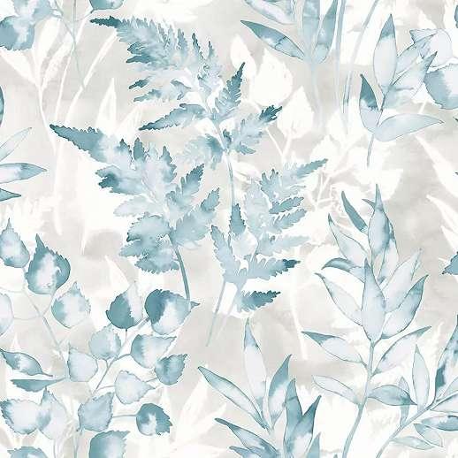 Türkizkék akvarell hatású levél mintás vlies design tapéta