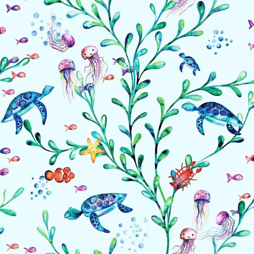 Türkizkék alapon tengeri állat, teknős, halak medúza mintás gyerektapéta