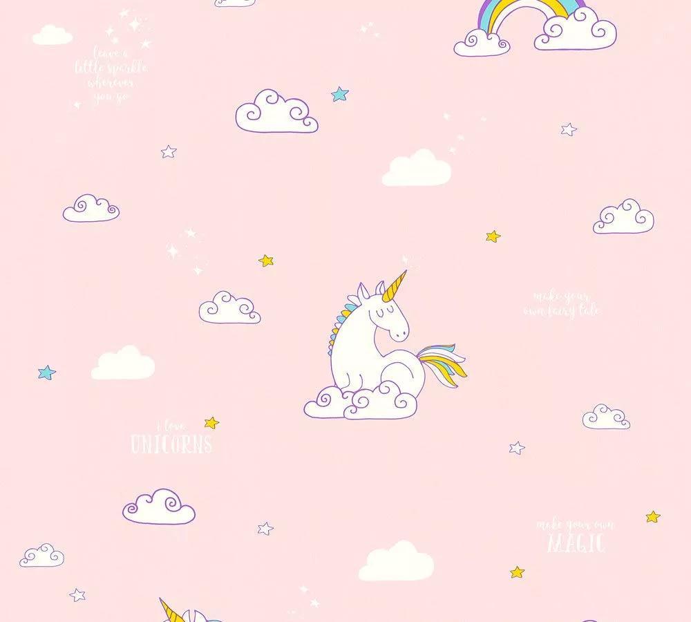 Unikornis mintás tapéta rózsaszín színben, unikornis, felhő mintával