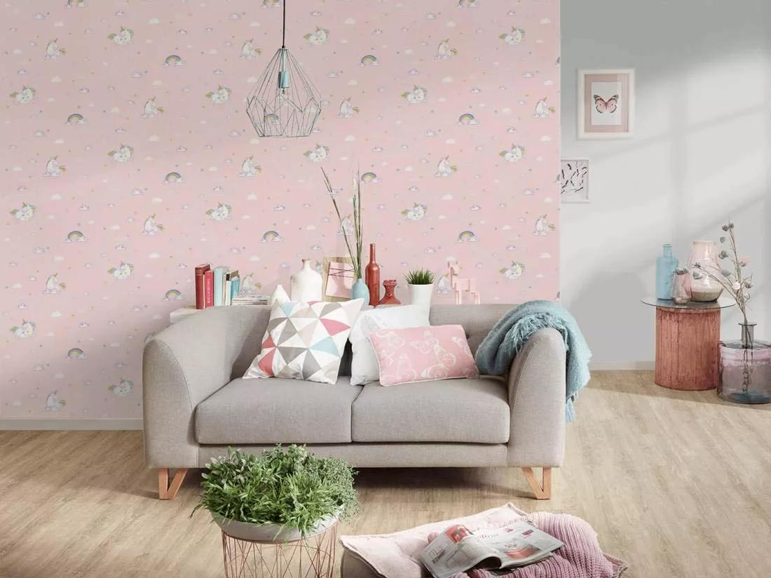 Unikornis mintás tapéta rózsaszín színben, unikornis, felhő mintával. !! Akciós áron: 5 tekercs érhető el !!
