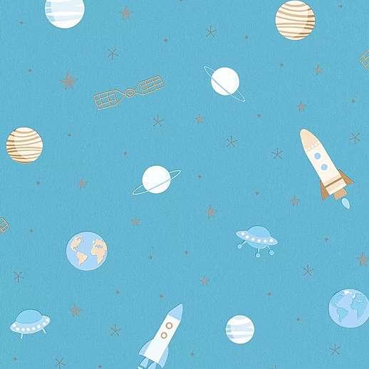 Űrhajó és bolygó mintás gyerektapéta kék színben