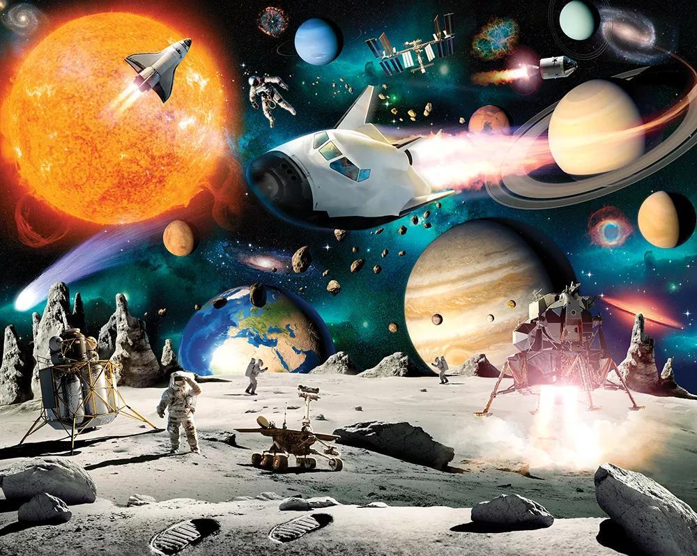 Űrhajó és világűr mintás fali poszter gyerekszobába