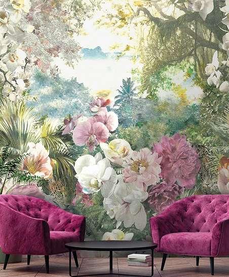 Utópia fali poszter trópusi hangulatban vibráló színes virág mintákkal