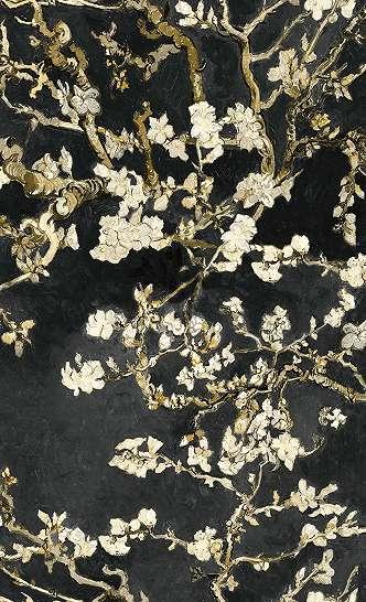Van Gogh cseresznye virág mintás tapéta fekete színben
