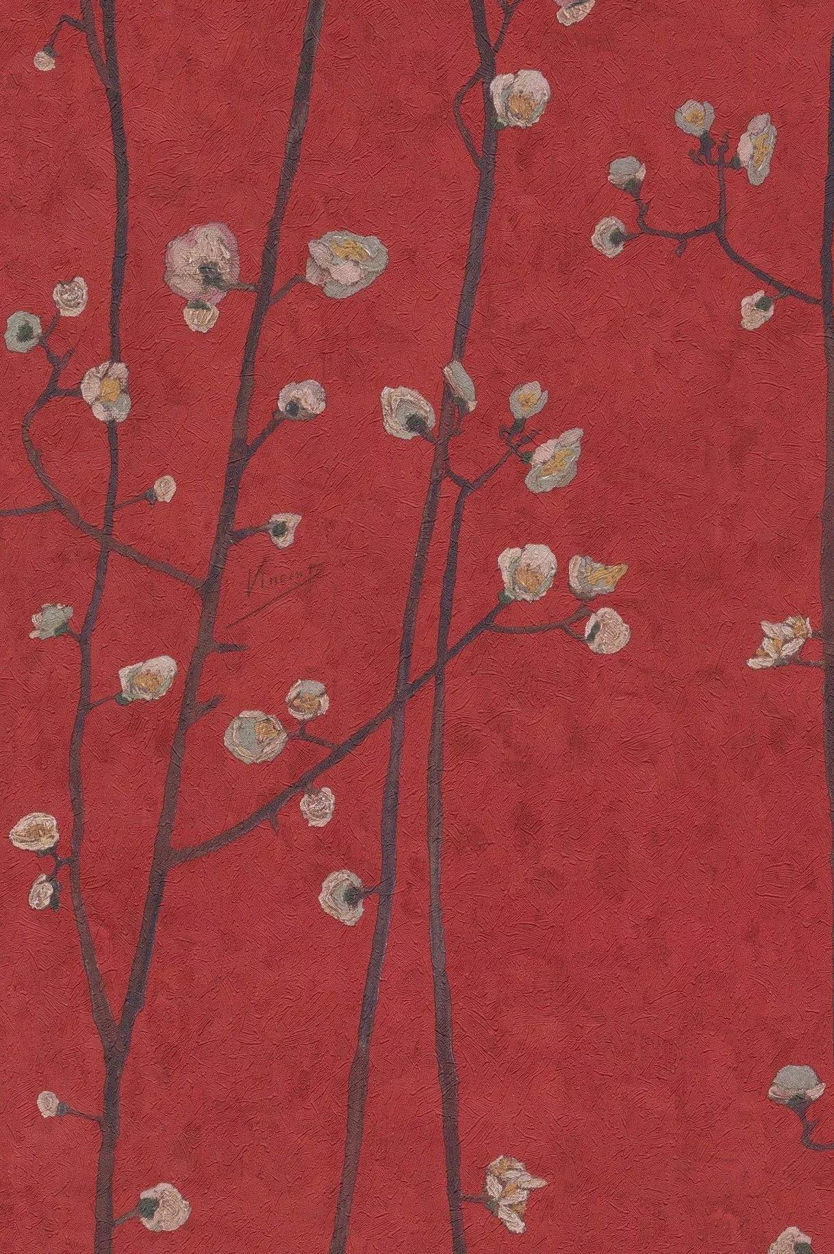 Van Gogh cseresznyefa virág mintás tapéta piros színben