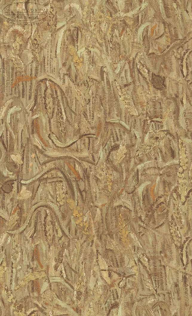 Van Gogh ecsetvonásai tapéta mintán barna, okker színvilágban