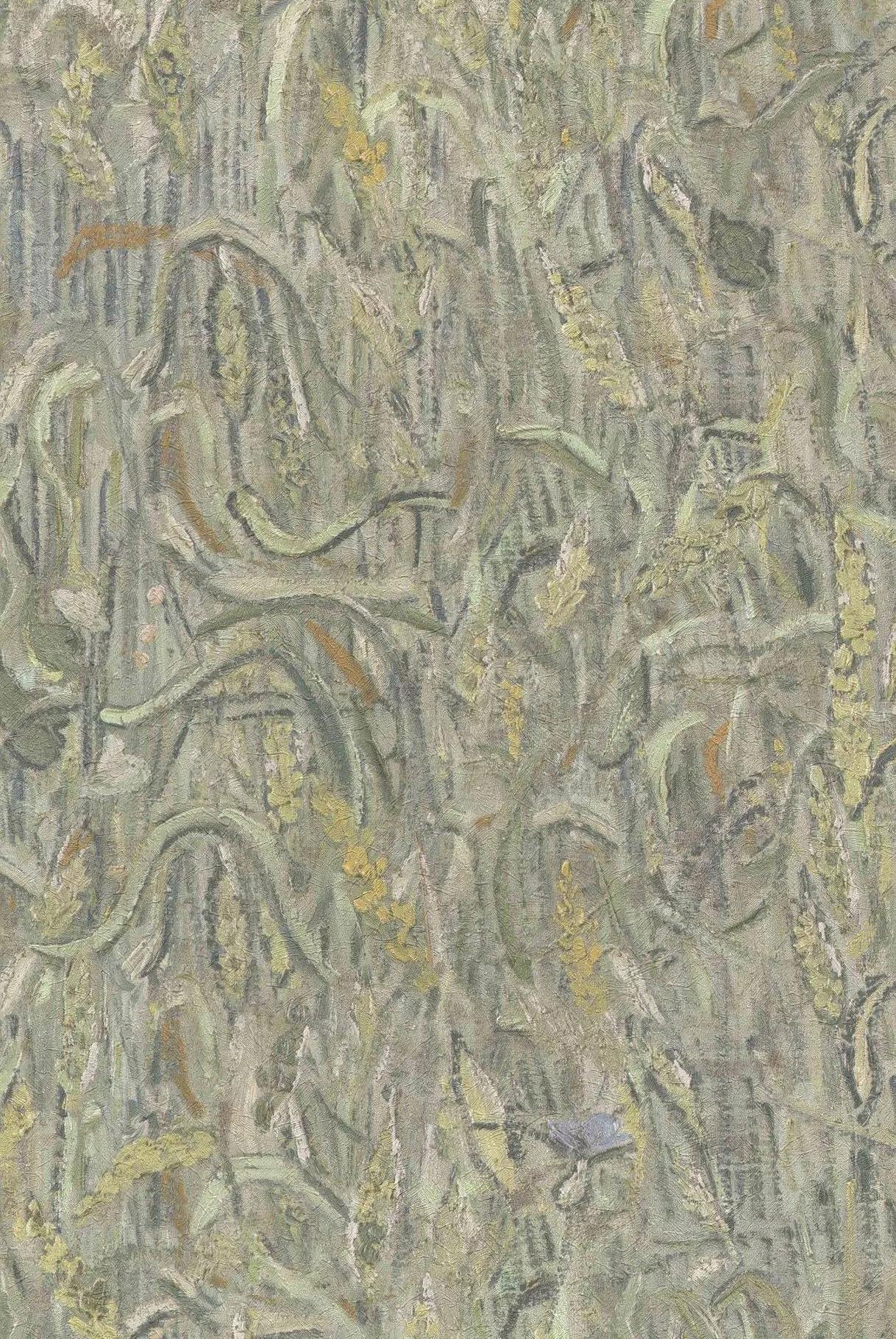 Van Gogh kézi festett hatású zöld színű tapéta