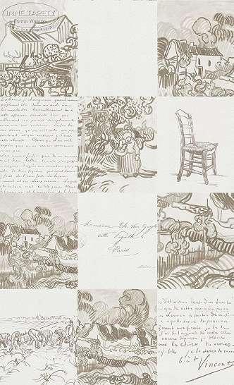 Van Gogh kézi rajz mintás tapéta bézs színben