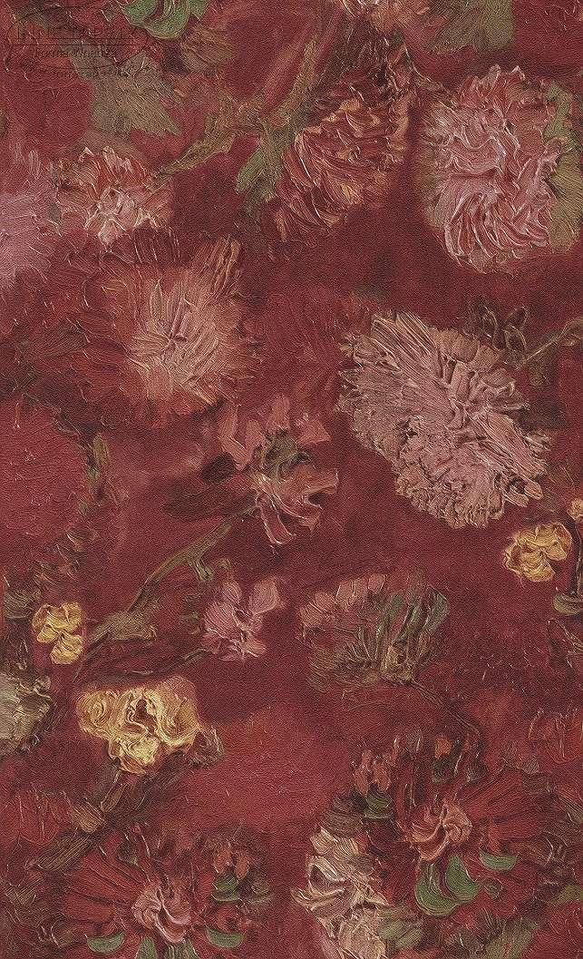 Van Gogh piros virág mintás tapéta