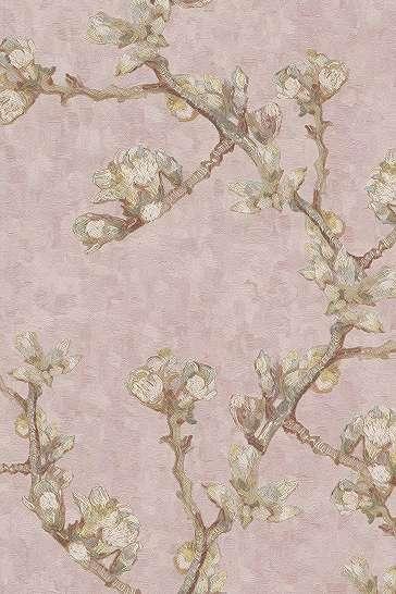 Van Gogh reprodukció, virág mintás tapéta halvány rózsaszín színben