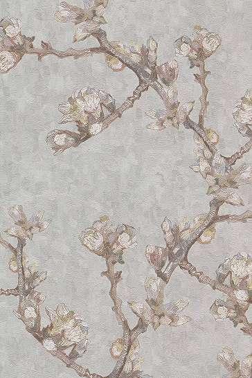 Van Gogh szürke virág mintás tapéta