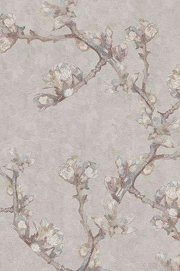 Van Gogh tapéta bézs alapon cseresznyefa virág mintával fesmény hatással