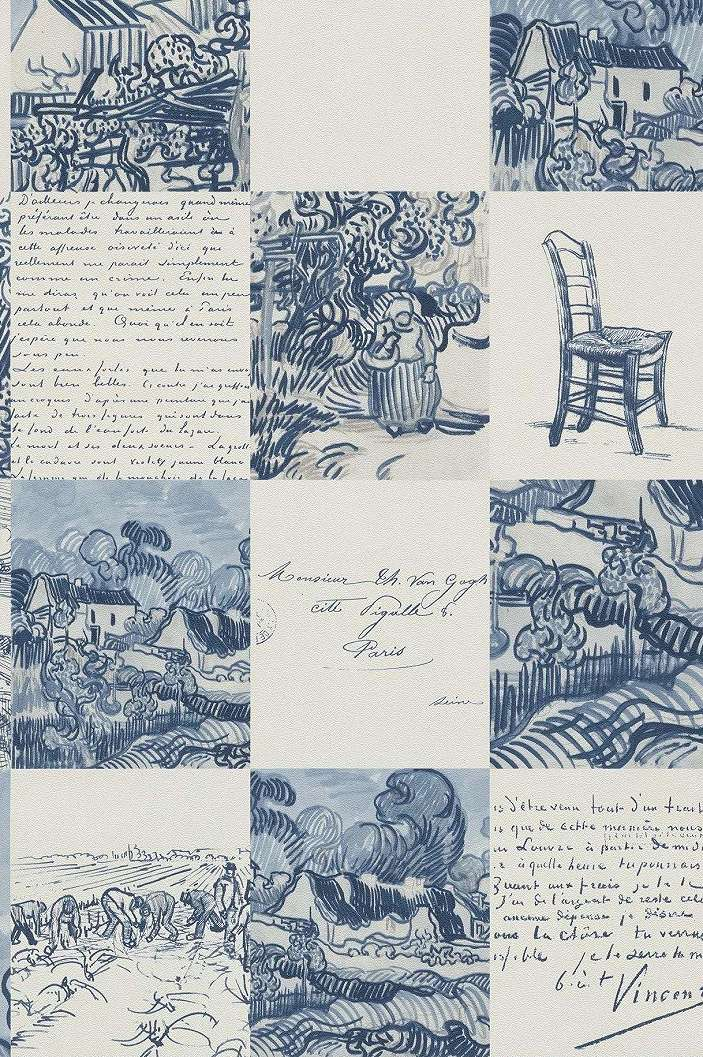 Van Gogh tapéta, kézi rajz mintával kék színben