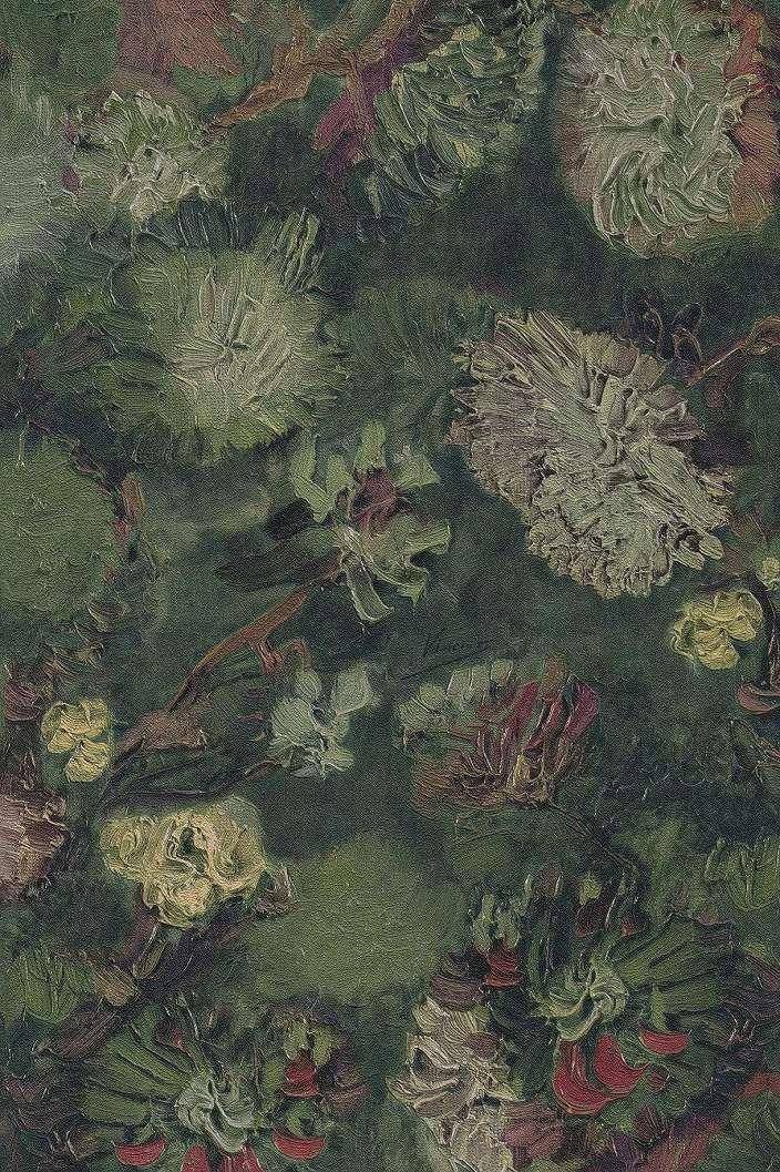 Van Gogh tapéta zöld alapon festett virág mintával