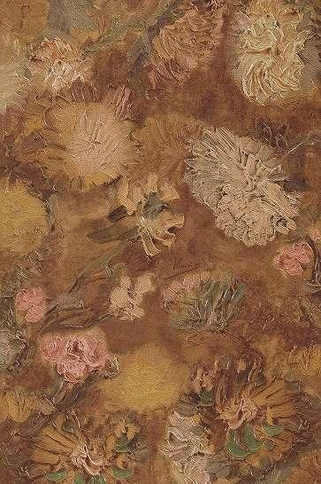 Van Gogh vastett hatású virág mintás tapéta okker színben
