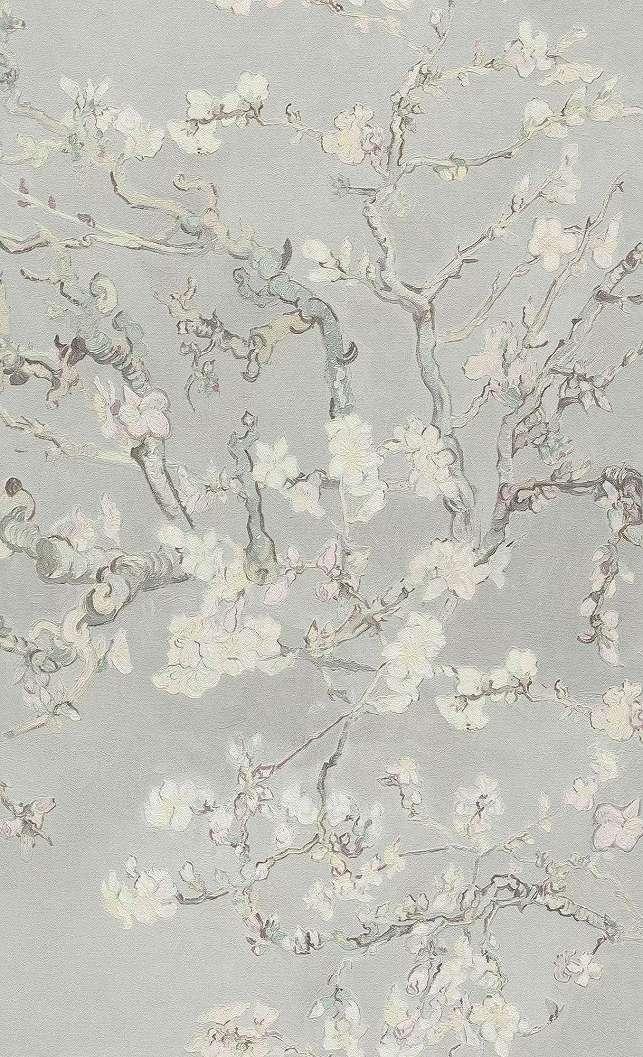 Van Gogh virág mintás festénye tapéta mintán szürke színben