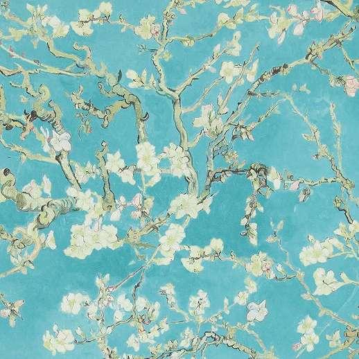 Van Gogh virág mintás tapéta kék színben