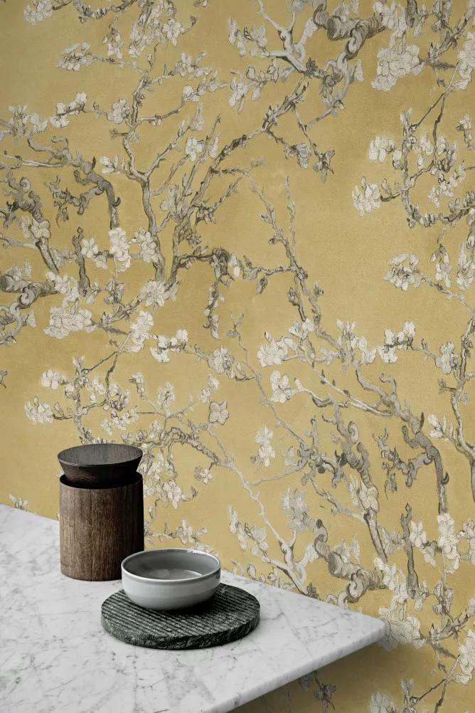 Van Gogh virág mintás tapéta okkersárga színben