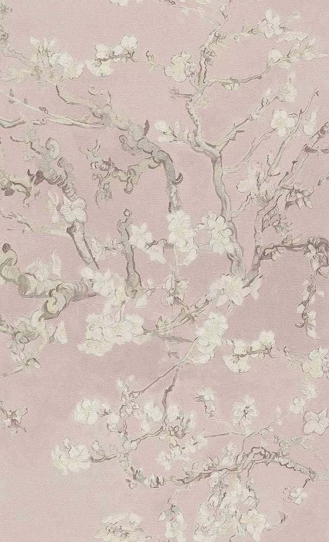 Van Gogh virág mintás tapéta romantikus rózsaszín színvilágban