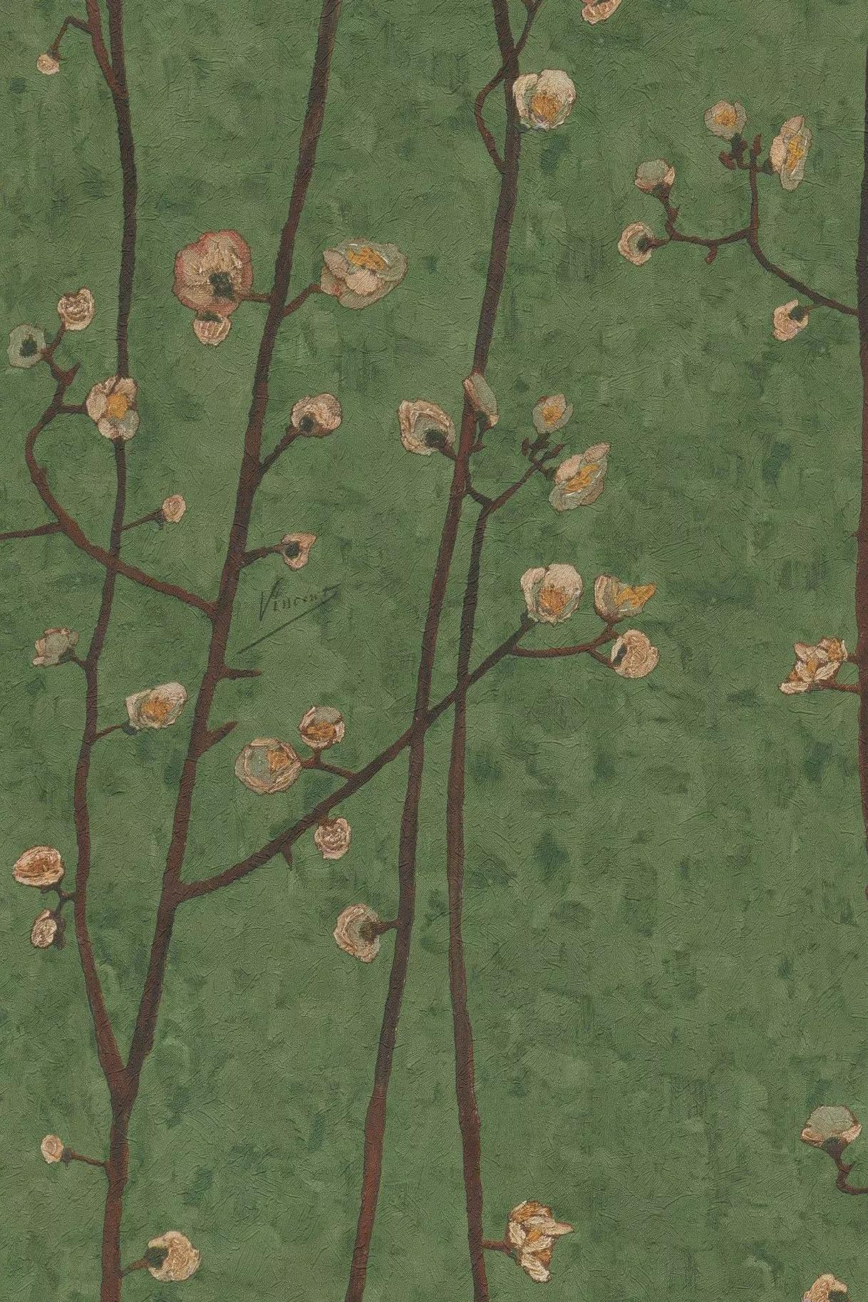 Van Gogh virág mintás tapéta zöld színben