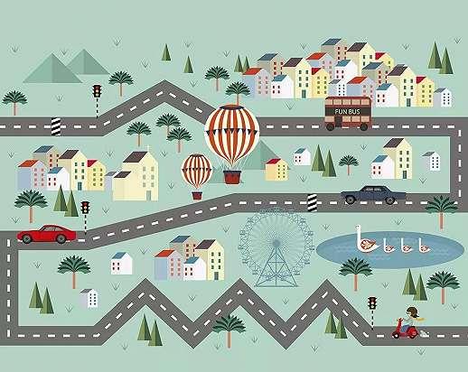 Városi közlekedés, kedves rajzolt gyerekszobai vlies fali poszter