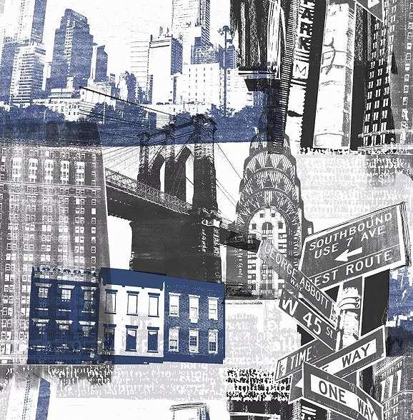 Városkép mintás tapéta kék fekete színvilágban