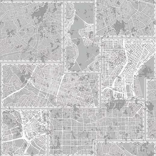 Várostérkép mintás tapéta szürke színben