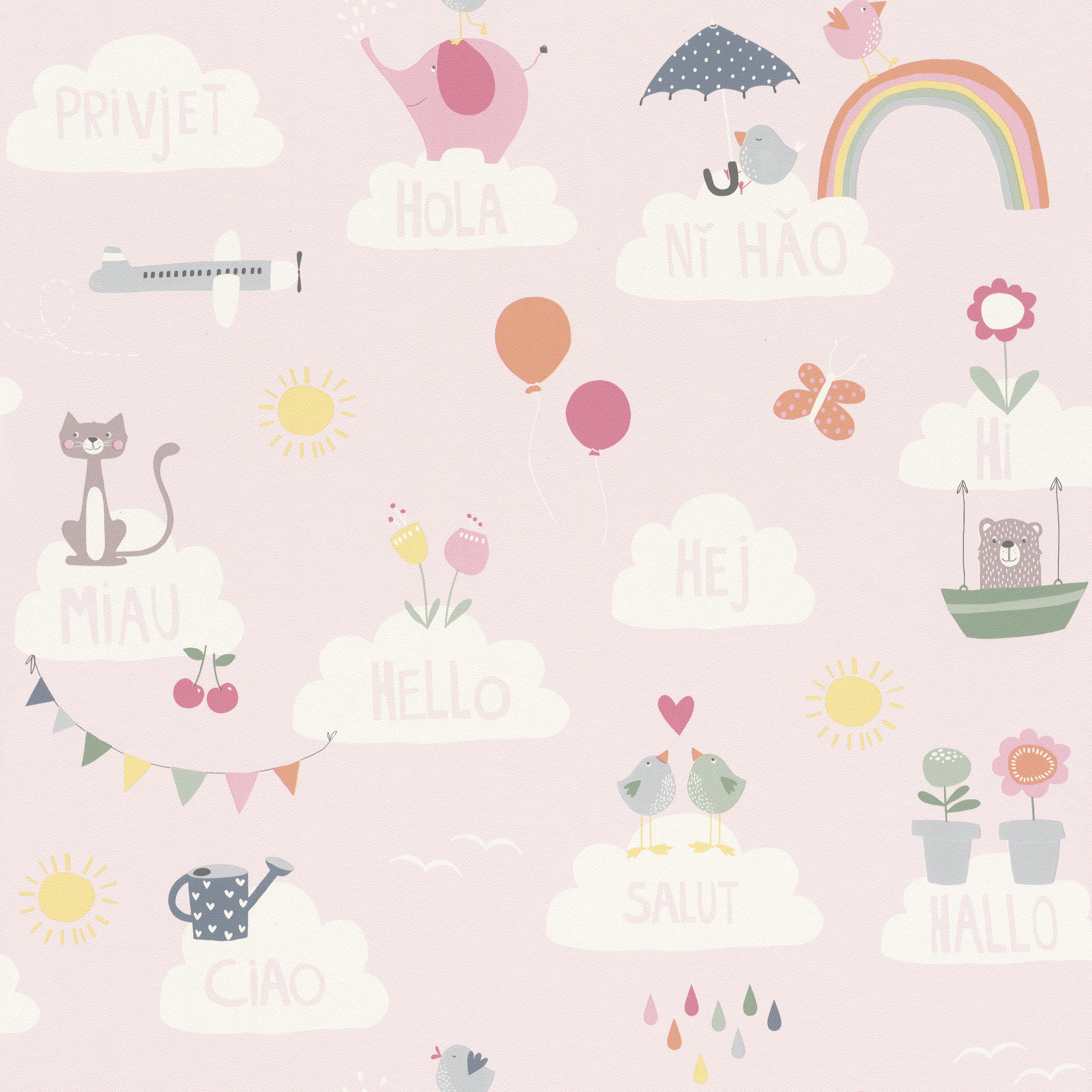 Vidám állatmintás rózsaszín gyerek tapéta