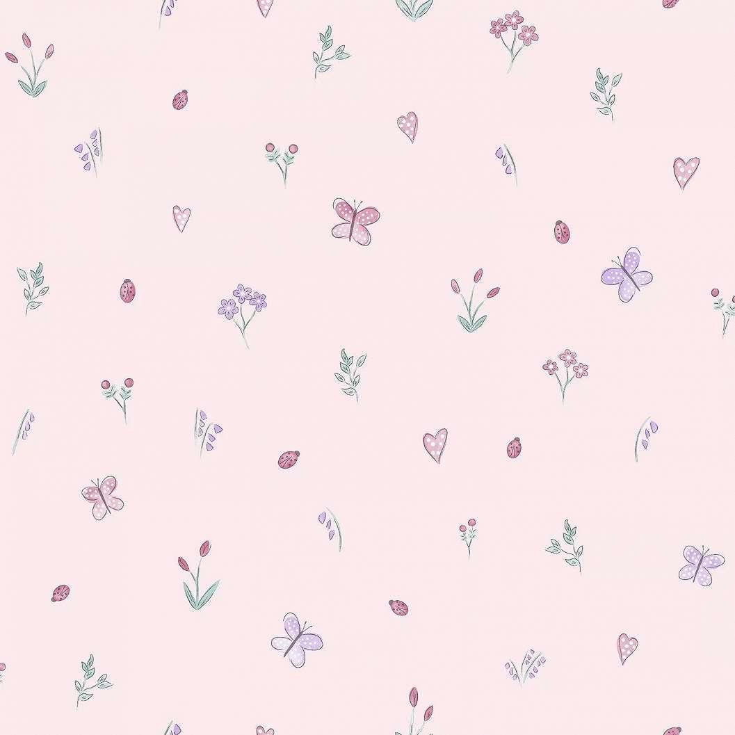 Vidám csajos gyerektapéta pillangóval, virágmintával